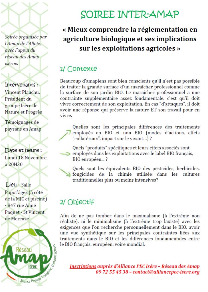 """Soirée inter-Amap """"Mieux comprendre la réglementation en agriculture biologique et ses implications sur les exploitations agricoles"""""""