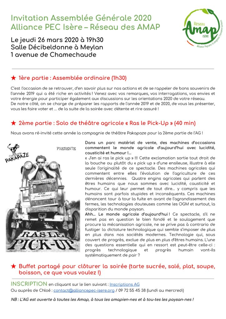 Assemblée générale du mouvement des Amap en Isère ! @ Salle Décibeldonne